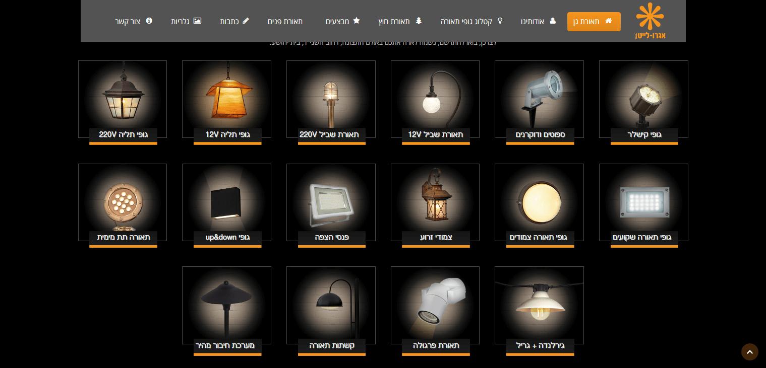 בניית אתר לחנות תאורה