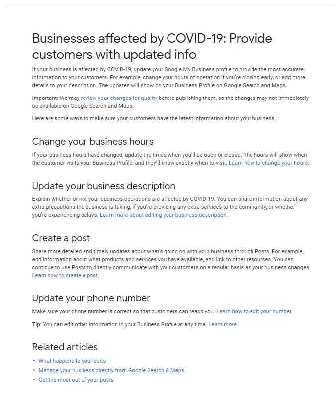 אם העסק שלך מושפע מ- COVID-19, עדכן את הפרופיל שלך